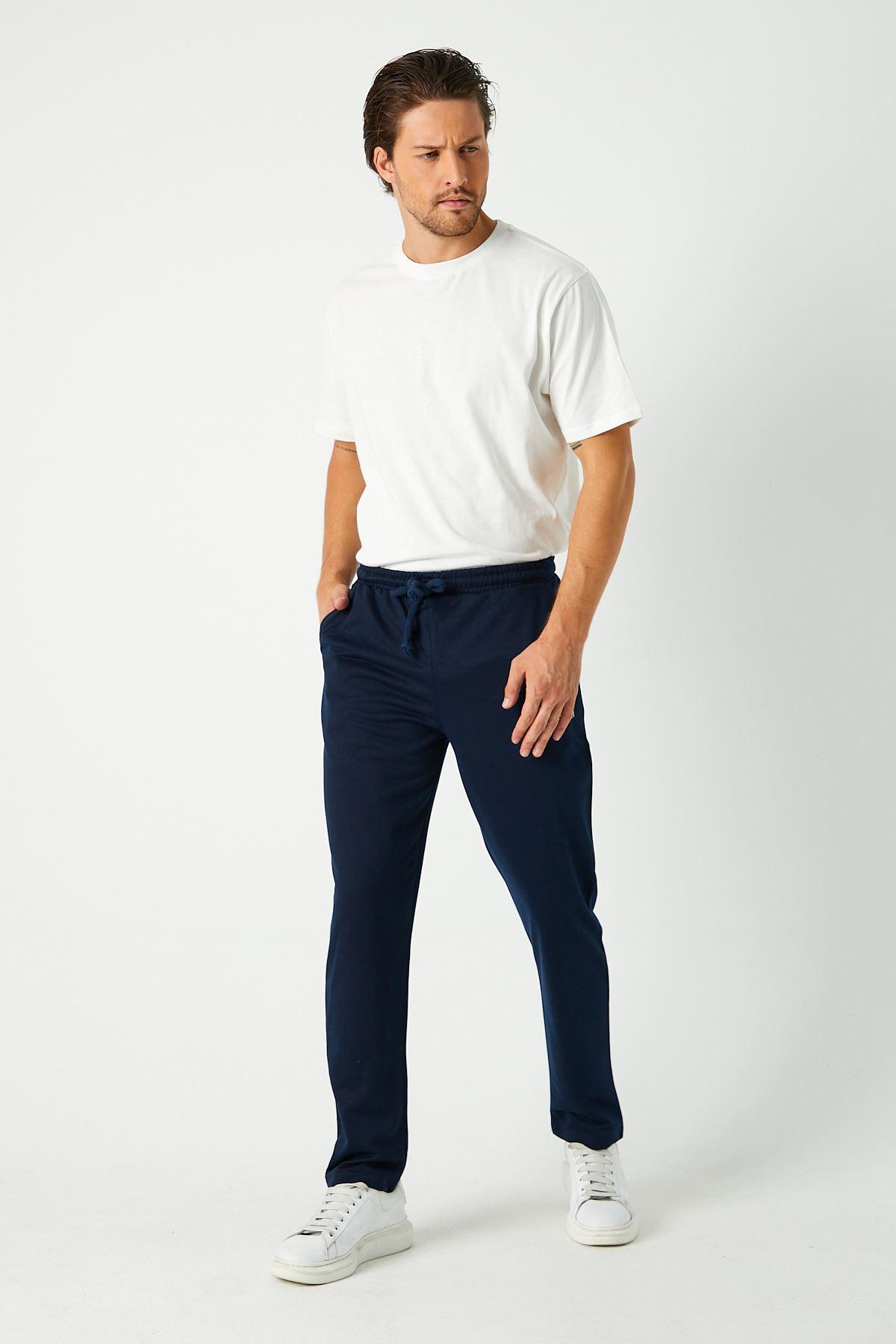 Erkek Sportwear Nakış Düz Paça Lacivert Eşofman Alt