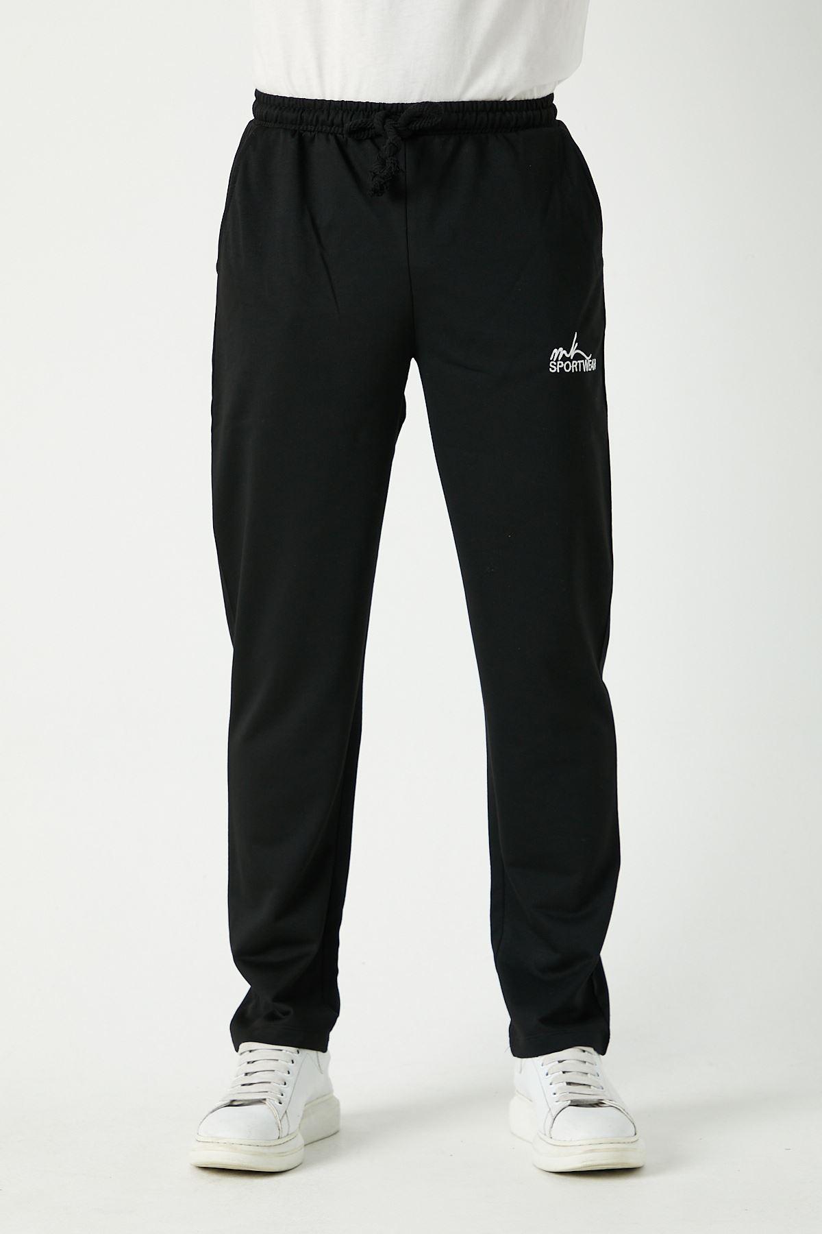 Erkek Sportwear Nakış Düz Paça Siyah Eşofman Alt