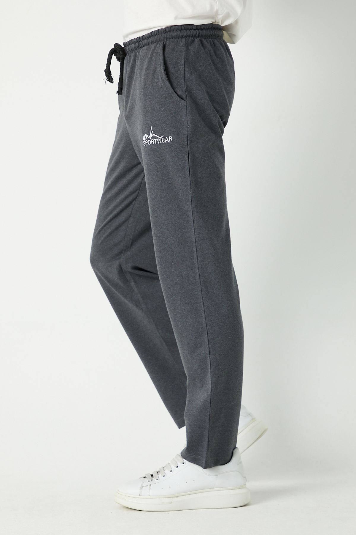 Erkek Sportwear Nakış Düz Paça Antrasit Eşofman Alt