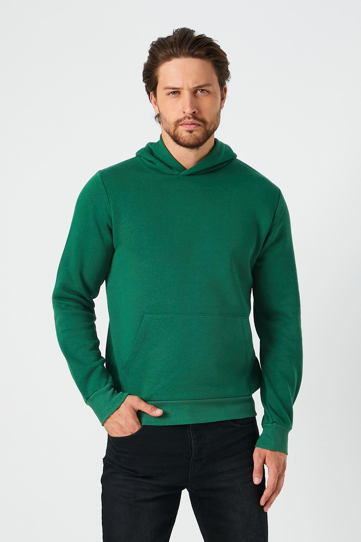 Erkek Şardonlu 3 İp Kanguru Cep Yeşil Sweat