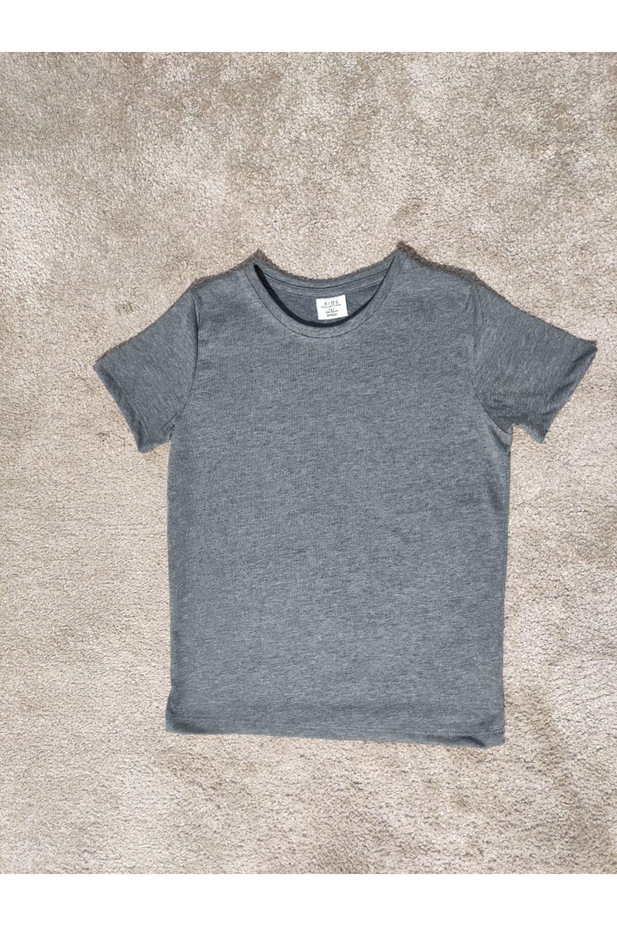 Kız Çocuk Bisiklet Yaka Antrasit T-shirt