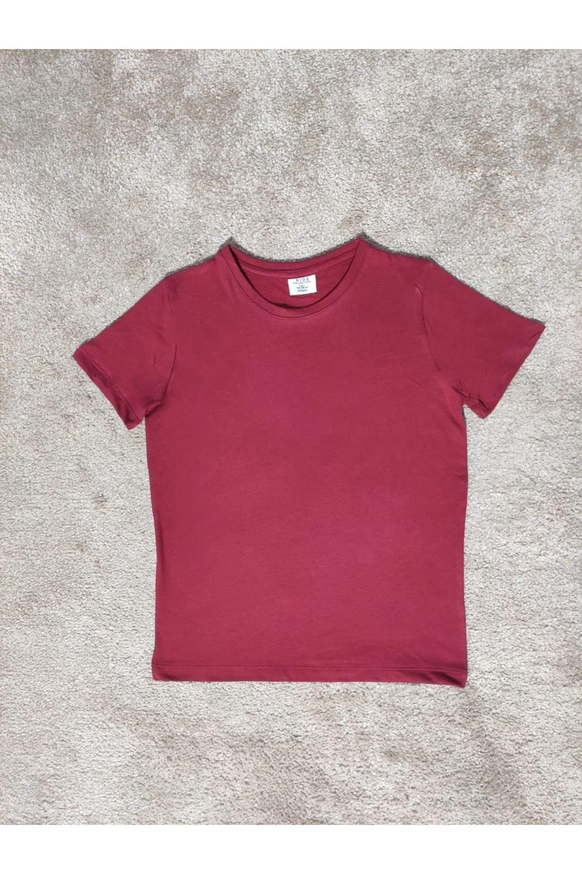 Kız Çocuk Bisiklet Yaka Bordo T-shirt