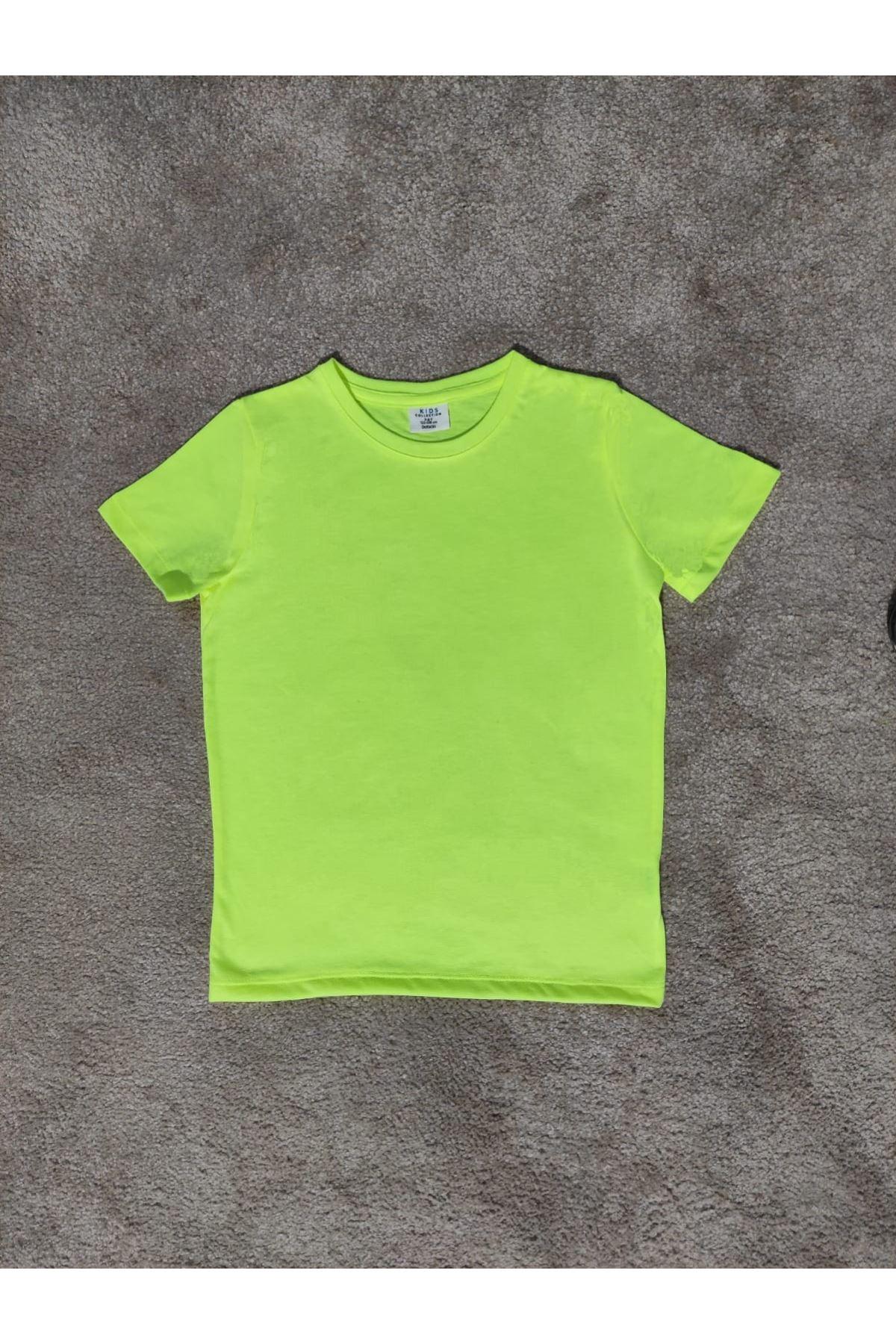 Kız Çocuk Bisiklet Yaka Neon Yeşil T-shirt