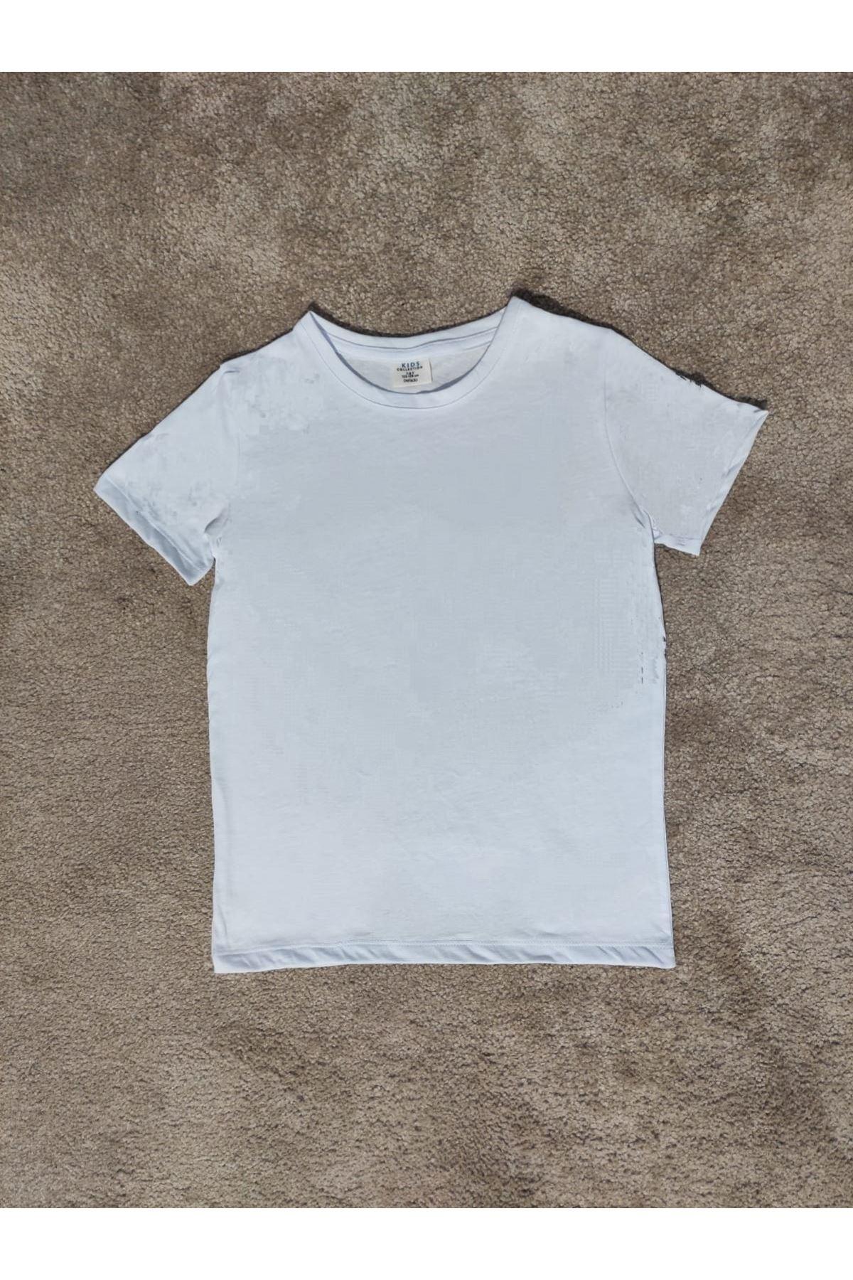 Kız Çocuk Bisiklet Yaka Beyaz T-shirt