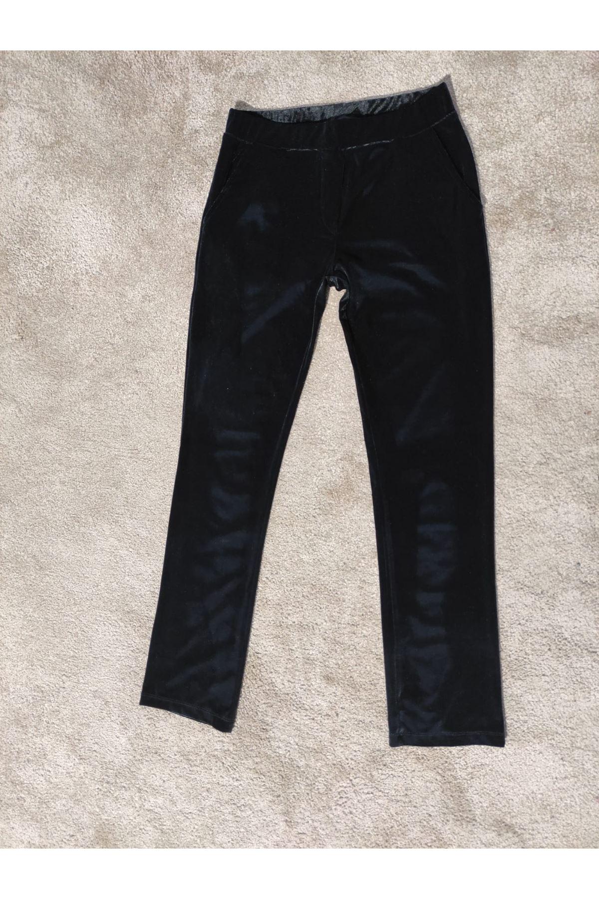 Kadın Yan Cepli Lastik Bel Kadife Siyah Pantolon