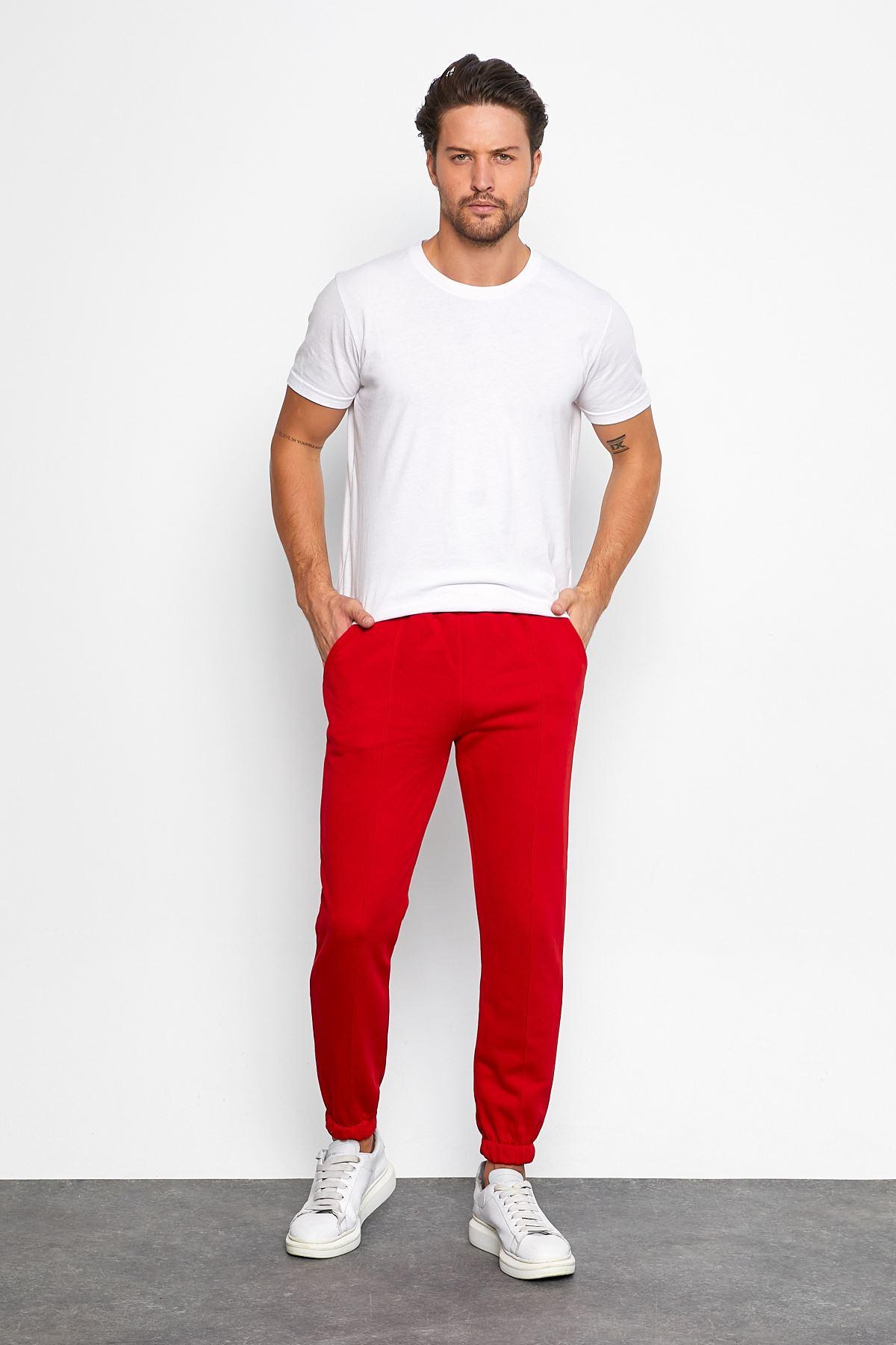 Erkek Şardonsuz 3 İplik Jogger Penye Çımalı Kırmızı Eşofman