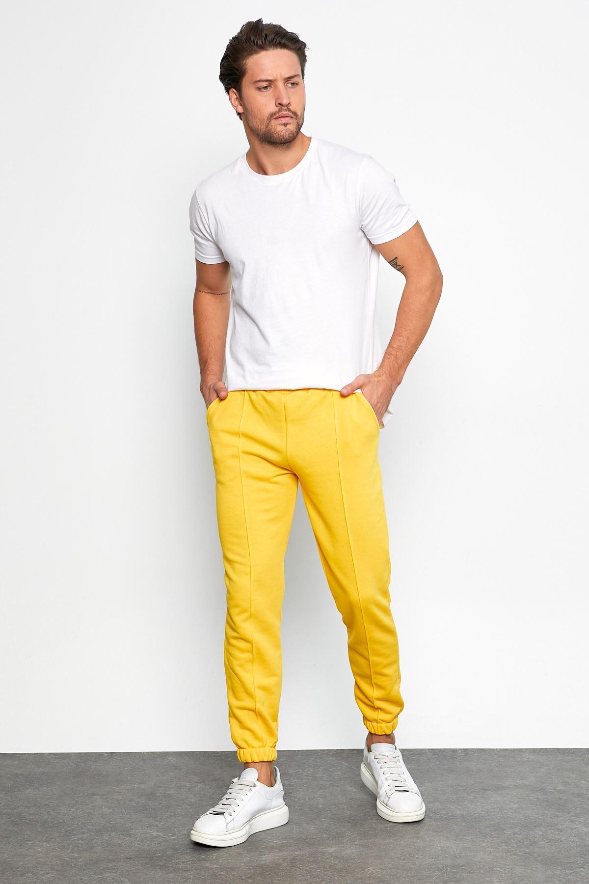 Erkek Şardonsuz 3 İplik Jogger Penye Çımalı Sarı Eşofman
