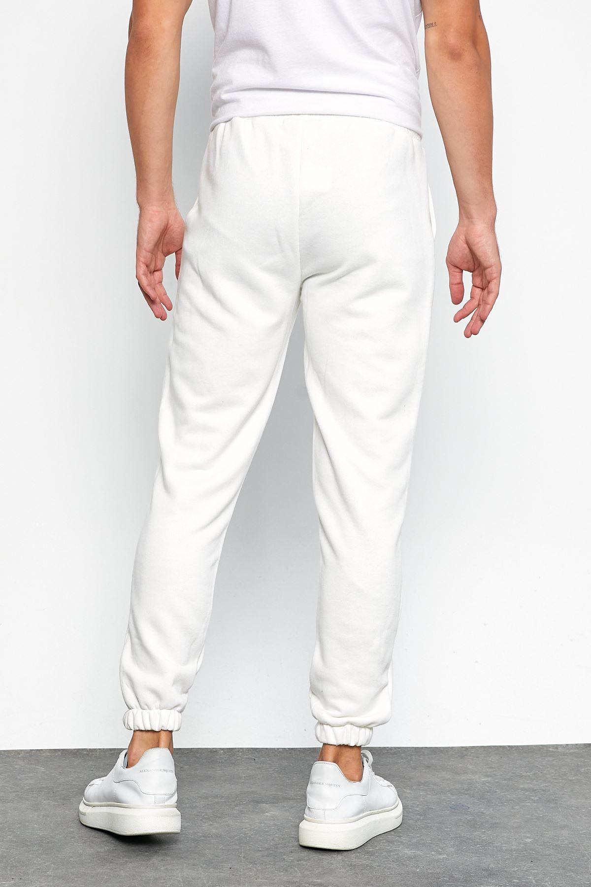 Erkek Şardonsuz 3 İplik Jogger Penye Çımalı Beyaz Eşofman