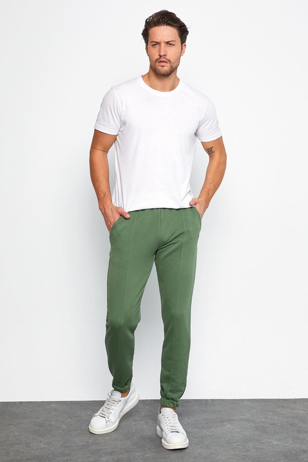 Erkek Şardonsuz 3 İplik Jogger Penye Çımalı Yeşil Eşofman