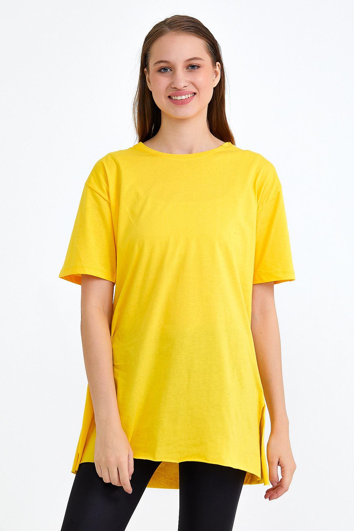 Kadın Bisiklet Yaka Yan Yırtmaçlı Sarı T-shırt