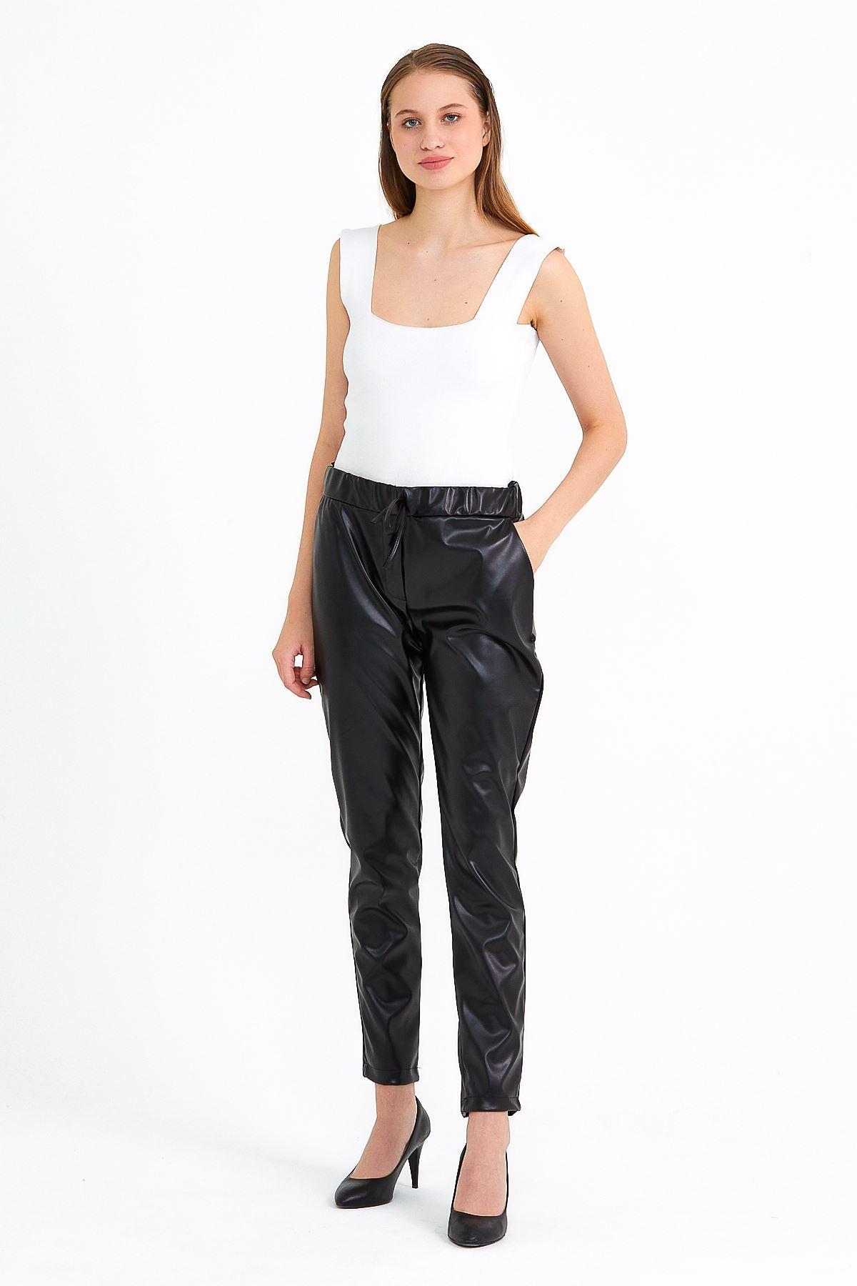 Kadın Bel Lastikli Siyah Deri Pantolon
