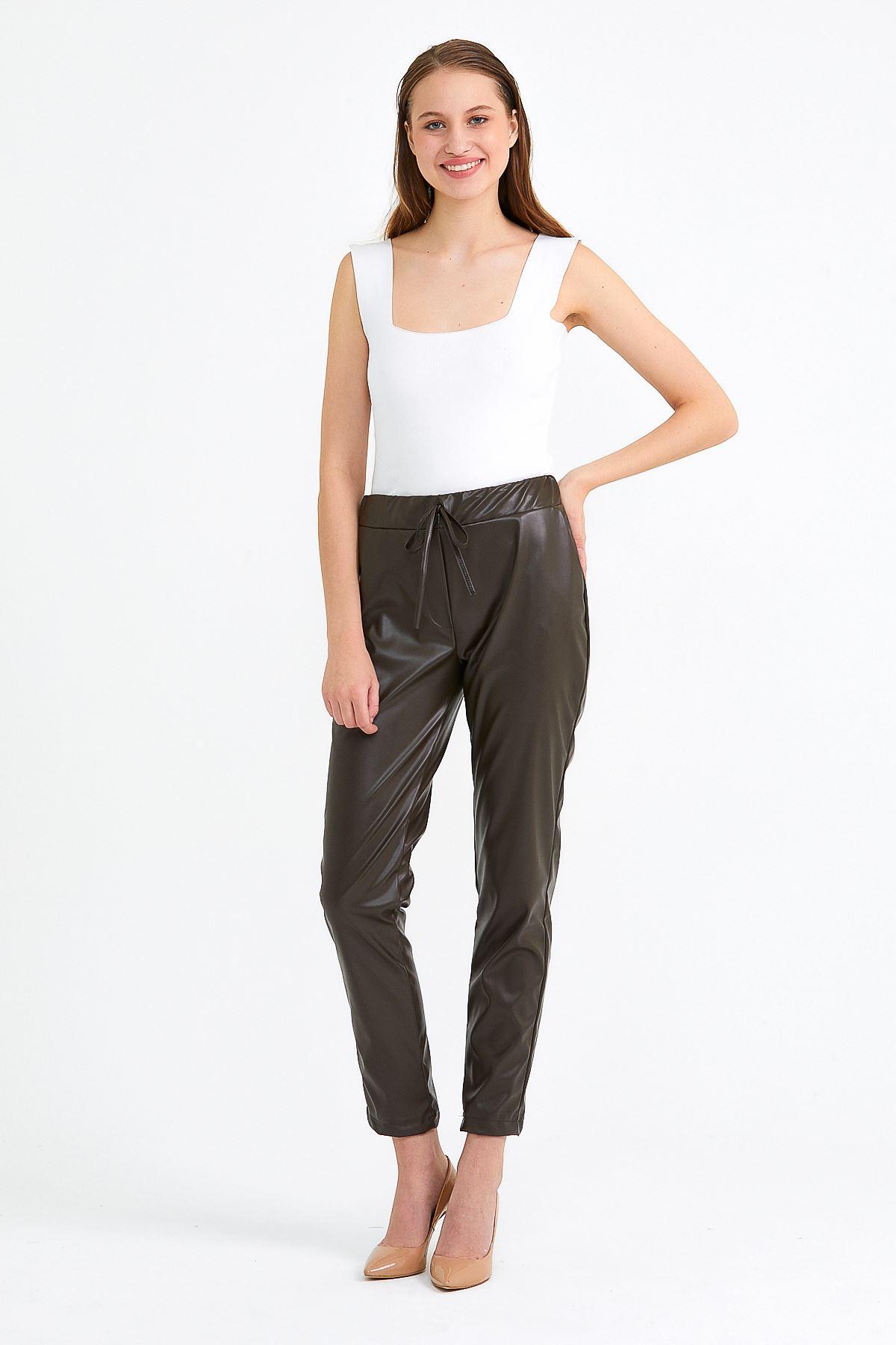 Kadın Bel Lastikli Haki Deri Pantolon