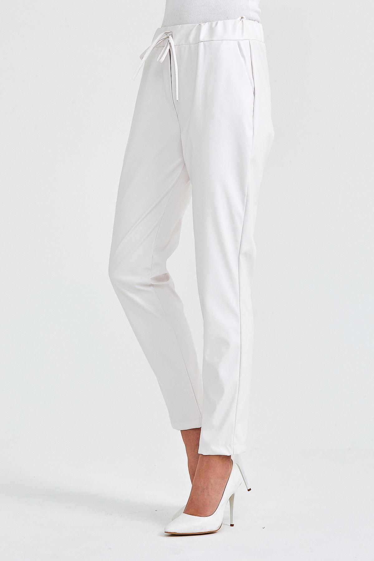 Kadın Bel Lastikli Beyaz Deri Pantolon