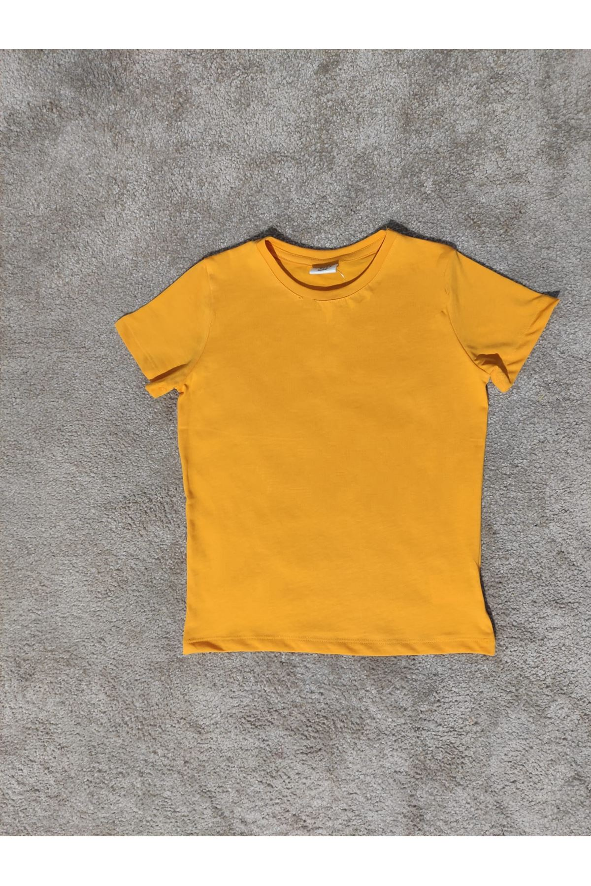Kız Çocuk Bisiklet Yaka Hardal T-shirt