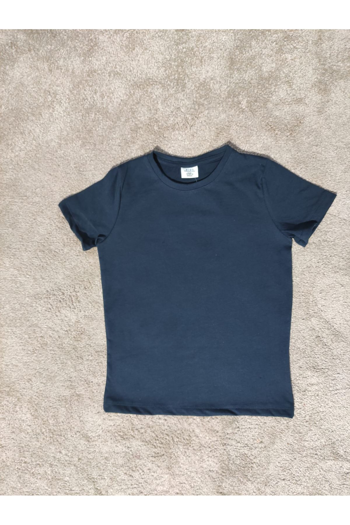 Kız Çocuk Bisiklet Yaka Lacivert T-shirt