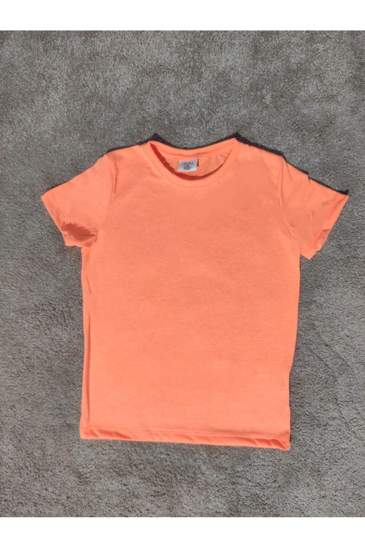 Kız Çocuk Bisiklet Yaka Turuncu T-shirt