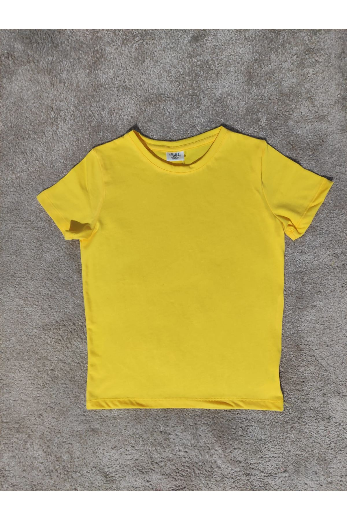 Kız Çocuk Bisiklet Yaka Sarı T-shirt
